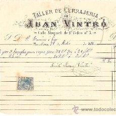 Cartas comerciales: BARCELONA-JUAN VINTRO-TALLER DE CERRAJERIA-AÑO 1886-ANCHO 22,50 CM- ALTO 16 CM. Lote 36234898
