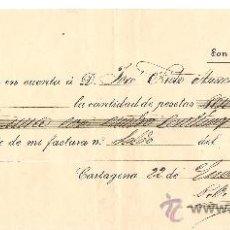 Cartas comerciales: CARTAGENA-JUAN GONZALEZ ROS-RECIBO-AÑO 1892-ANCHO 25 CM- ALTO 10,50 CM. Lote 36234954