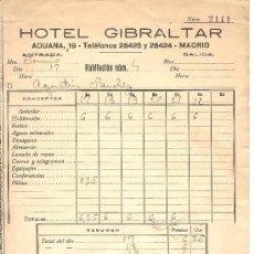 Cartas comerciales: MADRID-HOTEL GIBRALTAR-AÑOS 30-ANCHO 15,50 CM-ALTO 21 CM. Lote 36250433