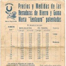 Cartas comerciales: CENTAURO - BARCELONA - PRECIOS Y MEDIDAS DE LAS HERRADURAS TARJETA ANTIGUA. Lote 36477632