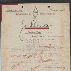 Cartas comerciales: ZARAGOZA. *JULIETA - PERFUMERÍA DE LUJO...* FECHADA 1944.. Lote 36876317
