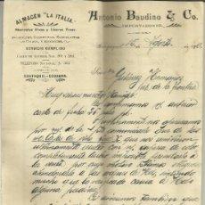 Lettres commerciales: CARTA COMERCIAL DE ANTONIO BAUDIÑO & COMPAÑIA. ALMACÉN LA ITALIA. GUAYAQUIL, ECUADOR, 1910. Lote 36892128