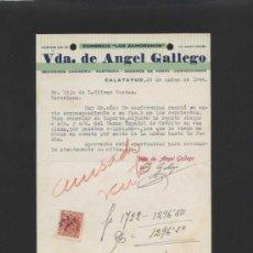 Cartas comerciales: ZARAGOZA. CALATAYUD. *VDA. DE ANGEL GALLEGO. COMERCIO LOS ZAMORANOS* FECHADA 1944.. Lote 36917634