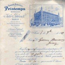 Cartas comerciales: CARTA COMERCIAL J DE JULES JALUZOL & Cº. GRAND MAGASINS DU PRINTEMPS DE PARIS, 1889 . Lote 36936151