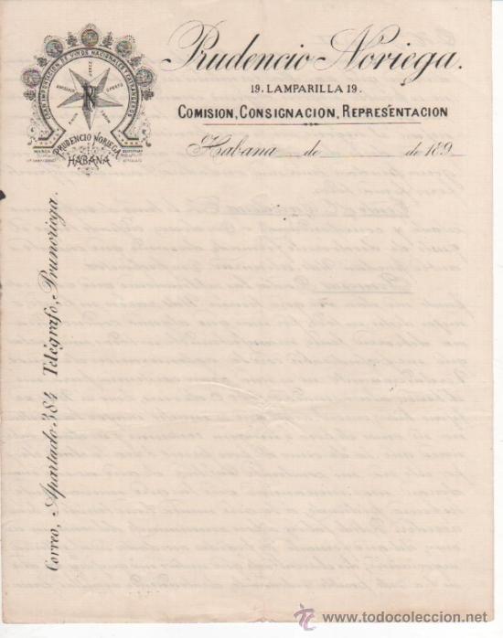 5 ANTIGUAS CARTAS COMERCIALES PRUDENCIO NORIEGA: IMPORTADOR DE VINOS LA HABANA ( CUBA ). SIGLO XIX (Coleccionismo - Documentos - Cartas Comerciales)