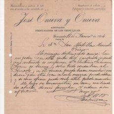 Cartas comerciales: 2 ANTIGUAS CARTAS COMERCIALES DE JOSÉ ONIEVA Y ONIEVA.ABOGADO Y PROCURADOR. GRANADA 1914. Lote 37250976