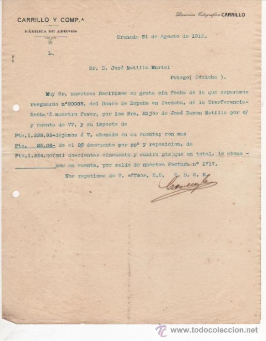 6 CARTAS COMERCIALES CARRILLO Y CÍA. FÁBRICA SUPERFOSFATOS, ABONOS Y PRODUCTOS QUÍMICOS. GRANADA (Coleccionismo - Documentos - Cartas Comerciales)