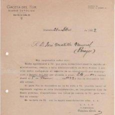 Cartas comerciales: 2 BONITAS CARTAS COMERCIALES DE LA GACETA DEL SUR. DIARIO CATÓLICO. GRANADA 1920 Y 1922.. Lote 37251225