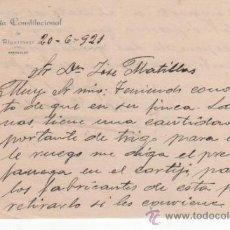 Cartas comerciales: BONITO DOCUMENTO DE LA ALCALDÍA CONSTITUCIONAL DE ALGARINEJO. GRANADA 1921. Lote 37251277