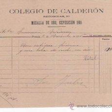 Cartas comerciales: CARTA COMERCIAL DEL COLEGIO DE CALDERÓN. GRANADA 1916. MEDALLA DE ORO EXPOSICIÓN 1906. Lote 37251435