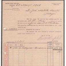 Cartas comerciales: CARTA COMERCIAL MATEO RUIZ GÁLVEZ: TELEGRAMAS Y TELEFONEMAS MATEO RUIZ. GRANADA 1917. Lote 37251622