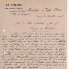 Cartas comerciales: 2 CARTAS COMERCIALES LA GIRALDA PERFUMERÍA: TELESFORO SIGLER DÍAZ. GRANADA 1916. Lote 37329350