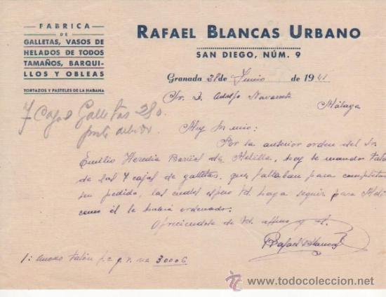 CARTA COMERCIAL FÁBRICA GALLETAS, VASOS HELADOS, BARQUILLOS OBLEAS: R. BLANCAS URBANO. GRANADA 1941 (Coleccionismo - Documentos - Cartas Comerciales)