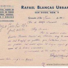 Cartas comerciales: CARTA COMERCIAL FÁBRICA GALLETAS, VASOS HELADOS, BARQUILLOS OBLEAS: R. BLANCAS URBANO. GRANADA 1941. Lote 37346296