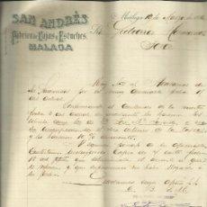 Cartas comerciales: CARTA COMERCIAL DE SAN ANDRÉS. FÁBRICA DE CAJAS Y ESTUCHES. MÁLAGA. 1896. Lote 37121321