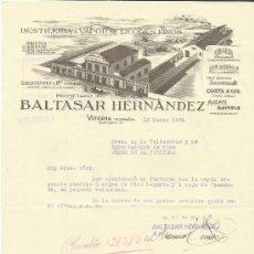 Cartas comerciales: CARTA COMERCIAL DE BALTASAR HERNÁNDEZ. DESTILERÍA VAPOR DE LICORES FINOS. VITORIA. 1934. Lote 37122038