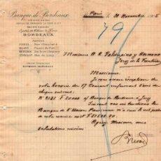 Cartas comerciales: CARTA COMERCIAL DE SOULA, DE TRINCAUD LA TOUR & CIE. BANQUE DE BORDEAUX. PARIS 1905. Lote 37122321