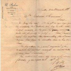 Cartas comerciais: CARTA COMERCIAL DE ULISES. BIDON. DROGUERIA. SEVILLA. 1888. Lote 37433874