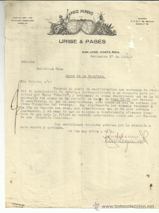 Cartas comerciales: CARTA COMERCIAL DE URIBE & PAGÉS. SAN JOSÉ. COSTA RICA. 1929 - Foto 1 - 136060868
