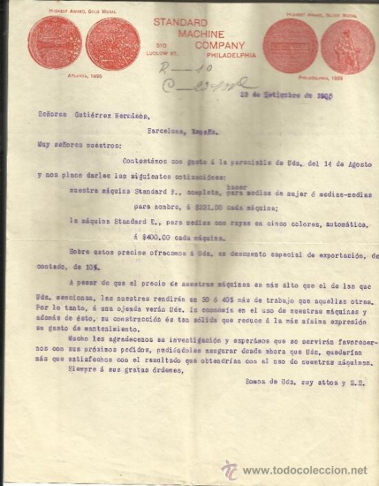 CARTA COMERCIAL DE STANDARD MACHINE COMPANY. PHILADELPHIA. EEUU. 1905 (Coleccionismo - Documentos - Cartas Comerciales)