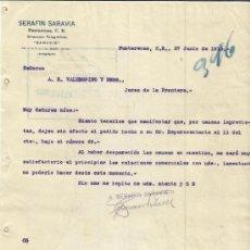 Cartas comerciales: CARTA COMERCIAL DE SERAFÍN SARAVIA. PUNTARENAS. COSTA RICA. 1913. Lote 37581049