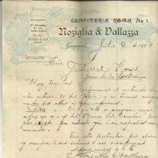 """Lettres commerciales: CARTA COMERCIAL DE CONFITERÍA """"ROMA"""" DE NOZIGLIA & VALLAZZA. GUAYAQUIL. ECUADOR. 1909. Lote 37598403"""