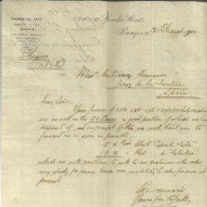 Cartas comerciales: CARTA COMERCIAL DE TRADING CO. LATE. HEGT & Cº. RANGOON. BIRMANIA. 1900. Lote 37668096