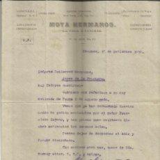Cartas comerciales: CARTA COMERCIAL DE MOYA HERMANOS. LA VEGA & SÁNCHEZ. NEW YORK. 1910. Lote 37736644