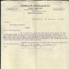 Cartas comerciales: CARTA COMERCIAL DE CARMELO A. GONZÁLEZ Z& CO. LIBRERIA VENEZOLANA. MARACAIBO. VENEZUELA. 1924. Lote 37747245