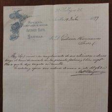 Cartas comerciales: CARTA COMERCIAL FACTURA: PAPELERIA Y ARTICULOS DE NOVEDAD ANTONIO BAYO – SEVILLA 1899 . Lote 37863369