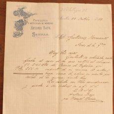Cartas comerciales: CARTA COMERCIAL FACTURA: PAPELERIA Y ARTÍCULOS DE NOVEDAD ANTONIO BAYO - SEVILLA OCTUBRE 1899. Lote 37863419