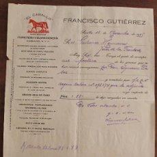 Cartas comerciales: CARTA COMERCIAL: EL CABALLO, FERRETERIA Y GUARNICIONERIA – FRANCISCO GUTIERREZ – SEVILLA 1925 . Lote 37879265