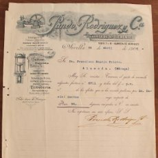 Cartas comerciales: CARTA COMERCIAL FACTURA: PANDO RODRIGUEZ Y Cª, FABRICA DE SAN CLEMENTE, SEVILLA A MALAGA 1906 . Lote 37879514