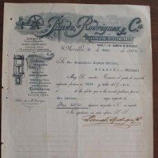 Cartas comerciales: CARTA COMERCIAL FACTURA: PANDO RODRIGUEZ Y Cª, FABRICA DE SAN CLEMENTE, SEVILLA A MALAGA 1906 . Lote 37879557