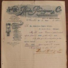 Cartas comerciales: CARTA COMERCIAL FACTURA: PANDO RODRIGUEZ Y Cª, FABRICA DE SAN CLEMENTE, SEVILLA A MALAGA 1906. Lote 37879590