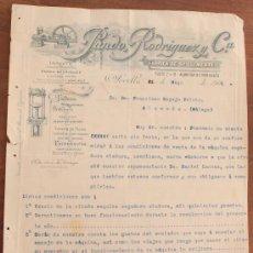 Cartas comerciales: CARTA COMERCIAL FACTURA: PANDO RODRIGUEZ Y Cª, FABRICA DE SAN CLEMENTE, SEVILLA A MALAGA 1906. Lote 37879798