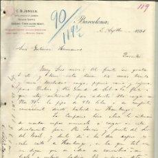 Cartas comerciales: CARTA COMERCIAL DE C.B. JENSEN. LATE GARCIA & JENSEN. BARCELONA. 1895 (2 HOJAS). . Lote 37914809