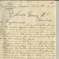 Lettres commerciales: CARTA COMERCIAL DEL PROGRESO (E. BARACCO). GUAYAQUIL. ECUADOR. 1895. Lote 38125306
