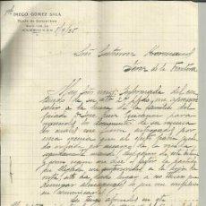 Cartas comerciales: CARTA COMERCIAL DE DIEGO GÓMEZ SALA. COMESTIBLES. ALGECIRAS. CÁDIZ. 1925. Lote 38131301
