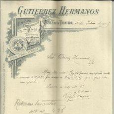 Cartas comerciales: CARTA COMERCIAL DE GUTIERREZ HERMANOS. COSECHEROS Y EXPORTADORES DE VINOS. JEREZ. CÁDIZ. 1925. Lote 38131601