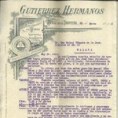 Cartas comerciales: CARTA COMERCIAL DE GUTIERREZ HERMANOS. COSECHEROS Y EXPORTADORES DE VINOS. JEREZ. CÁDIZ. 1925 . Lote 38131619