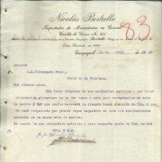 Lettres commerciales: CARTA COMERCIAL DE NICOLÁS BERTULLO. IMPORTADOR DE MERCADERÍAS EN GENERAL. GUAYAQUIL. ECUADOR. 1920 . Lote 38132348