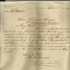 Cartas comerciales: CARTA COMERCIAL DE CHR, TAMS & Cª. PUERTO CABELLO. VENEZUELA. 1891. Lote 38135168