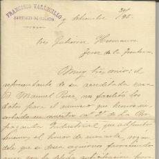Cartas comerciales: CARTA COMERCIAL DE FRANCISCO VALLECILLO. SANTIAGO DE COMPOSTELA. LA CORUÑA. 1895. Lote 38135298
