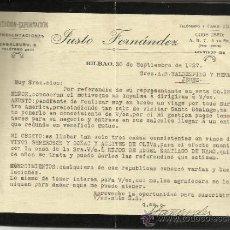 Cartas comerciales: CARTA COMERCIAL DE JUSTO FERNÁNDEZ. REPRESENTACIONES. BILBAO. 1927. Lote 38344558