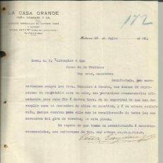 Cartas comerciales: CARTA COMERCIAL DE LA CASA GRANDE. PEÑA, GANDARA Y CA. HABANA. CUBA. 1921. Lote 38378692