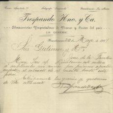 Cartas comerciales: CARTA COMERCIAL DE TRESPANDO HNO. Y Cª. ALMACENISTAS IMPORTADORES. GUANTÁNAMO. CUBA. 1907. Lote 38379045
