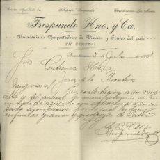 Cartas comerciales: CARTA COMERCIAL DE TRESPANDO HNO. Y Cª. ALMACENISTAS IMPORTADORES. GUANTÁNAMO. CUBA. 1907. Lote 38380945