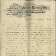 Cartas comerciales: CARTA COMERCIAL DE ANTONIO RAMOS Y HNO. IMPORTADORES DE VINOS Y LICORES. HABANA. CUBA. 1902. Lote 38381621