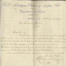 Cartas comerciales: CARTA COMERCIAL DE RODRÍGUEZ ALVAREZ Y LÓPEZ. IMPORTADORES DE TEJIDOS. HABANA. CUBA. 1894. Lote 38382008